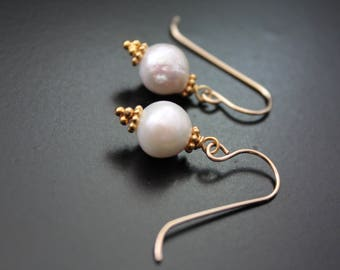 Baroque pearls and gold earrings small minimalist earrings freshwater pearl earrings everyday simple earrings year round gift for her