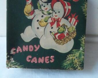 Vintage Empty Christmas Card Box Snowman Snow couple Candy Cane