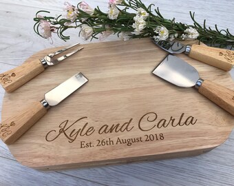 Personalised oval cheese board perfect for weddings and anniversarys engraved - cheese lovers gift