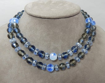 Beautiful Vintage Blue Gray Crystal West Germany 2 Strand Choker Necklace    PV23