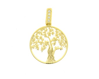 Tree of Life pendant 925 sterling silver plated gold yellow contromaglia 925 sterling silver gold-plated, diameter mm20