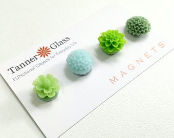 Resin Flower Magnets - Spring Green - Rare Earth Magnets- Set of 4- powerful strong magnets, floral, colorful / teacher gift / mothers day
