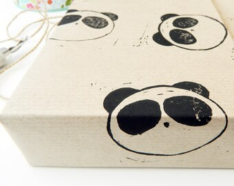 panda gift wrapping - wrapping paper - gift wrap - pandas - wildlife - lino cut printed