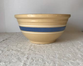 Large Watt Oven Ware Mixing Bowl * # 12 * Primitive Yellow Ware Bowl * Antique Pottery Bowl * Farmhouse Kitchen * Blue Band * Made in USA