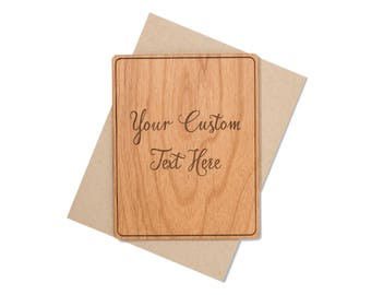 Wood greeting card etsy custom wood card for him for her with personalized message make your own greeting card m4hsunfo