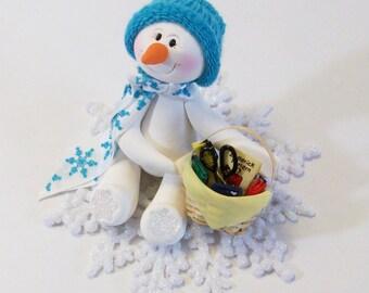 Schneemann Ornament liebt zu nähen