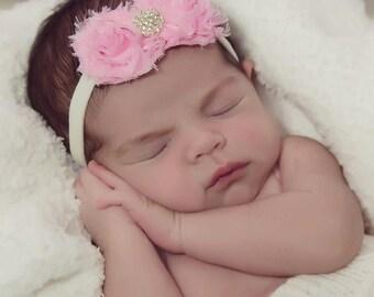 Preemie headband, newborn headband, Shabby chic, shabby flower  MINI shabby frayed chiffon headband or clip.