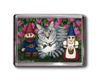Tabby Cat Garden Gnomes Magnet Azalea Flowers Fantasy Cat Art Framed Magnet Gifts For Cat lovers