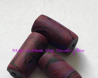 Pink Polymer Clay Tube Beads