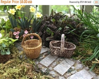 SALE Mini Baskets, Resin Baskets, Set of 2, Fairy Garden Accessory, Miniature Home & Garden Decor, Round and Oblong Baskets