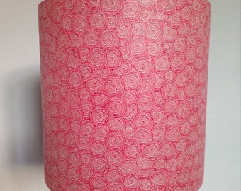 Cylindrical Lampshade/pendant red footprints Nepalese paper
