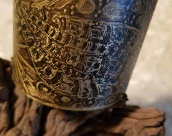 Etched Copper Cuff Adjustable Bracelet