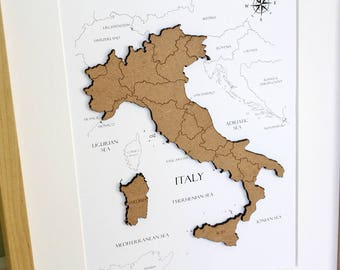 Custom Map of Italy, Italy Map, Wood Cut Map of Italy, Laser Cut Map, Custom Italy Map, Map Wall Art, Custom Map, Home Decor, 8x10 or A4