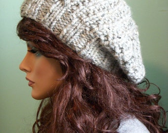 Pale Gray Tweed Hat Beret, Slouchy Knit Tam Beanie