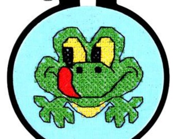 Dimensions Learn A Craft Friendly Frog 72531 Glow In The Dark Stamped Cross Stitch Kit New In Package Easy Cross Stitch Hoop Included Green