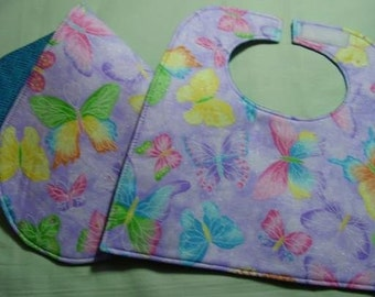 Rainbow Butterflies Baby Bib and Burpee