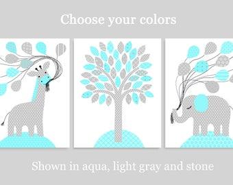 Aqua and Grey Nursery Decor, Gender Neutral, Elephant Nursery, Giraffe Nursery, Zoo Nursery, Baby Boy Decor, Baby Girl Wall Art, Jungle Room