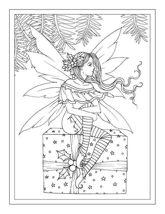 Christmas Fairy Sitting On Gift Printable Instant Download