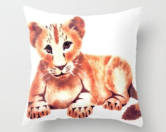 Baby Lion Cub, Throw Pillow Cover, Kids Room Accent, Nursery Decor, Baby Lion Face, Lovable, Adorable, Cuddly, Friendly Lion,Baby Animal Art