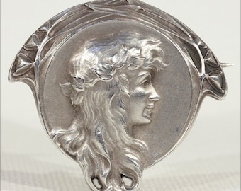 Antique Art Nouveau French Silver Brooch Pin