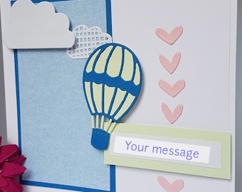 3D Hot Air Balloon Birthday Card Dad Daddy Father Pop Grandad  Uncle Brother Hearts Handmade FD01