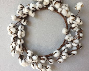 "23"" Cotton Wreath, Cotton Boll Wreath, Faux Farmhouse Cotton Stem, Cotton Bolls"