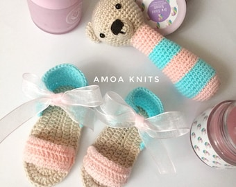 Baby Sandals & Rattle, Baby sandals, Rattle, crocheted sandals, crocheted rattle