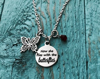 Now she flies, with the Butterflies, Now he flies, Gift, Bereavement, loss of loved one, Miscarriage, Silver Necklace, Charm Necklace, Gifts