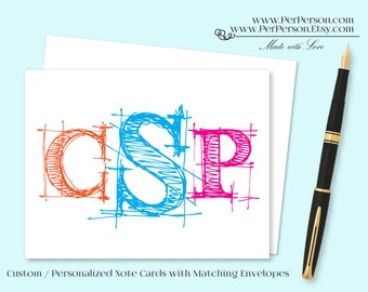 Free Ship!  Set of 12 Personalized / Custom Notecards, Boxed, Blank Inside, Sketch, Scribble, Drawing, Monogram V2, Name, Initials