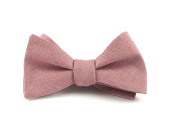 Rose Pink Bow Tie, Deep Rose Pink, Crosshatch Pattern, Rose Wedding Bow Ties, Groomsmen Gift - Traditional Self-Tie or Pre-Tied