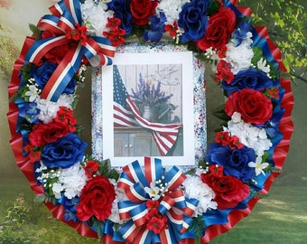 Patriotic Cemetery Wreath, Red, White, Blue, American Flag, Cemetery Flowers, Gravesite, Memorial Day, Funeral Wreath, 4th of July, Fourth
