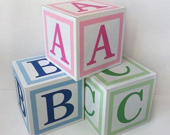 Alphabet Blocks - Baby Decor - Baby Blocks - Baby Shower - Shower Centerpieces - Nursery Decor - ABC Blocks - Block Letters - 3D Blocks