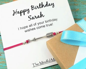 Personalized Gift Bracelet, Birthday Card and Bracelet, Best Friend Birthday Gift, Arrow Charm Bracelet, Friendship Gift, Happy Birthday