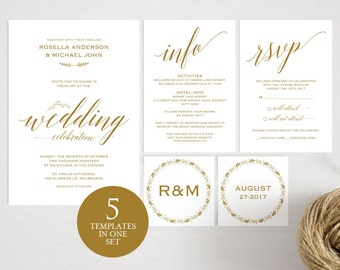 Gold Wedding Invitation Template, Wedding invitation template, Wedding Invite, Kraft wedding Invitation, pdf instant download, WPC_105SD1C