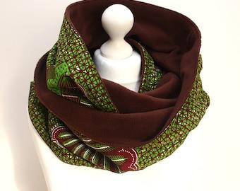 Grün Ankara Rundschal, Schal, Loop, Kapuzenschal, Ankara Schal, Schal print Afrocentric Fleece Schal, afrikanische
