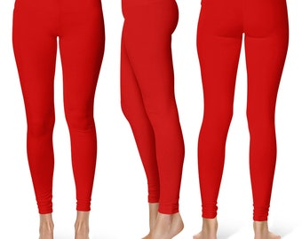 Red Leggings for Women, Mid Rise Waist Workout Pants, Yoga Leggings