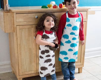 Hedgehog Kids Apron - Kitchen Craft Art Play Apron - Children's Cotton Apron with Hedgehogs - Childs Organic Apron - GOTS Certified