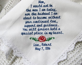 Special Place In My Heart- Gift To Mom From Groom- Embroidered Lace Weddng Handkerchief