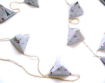 Origami geometric garland Parisian paper tetrahedrons