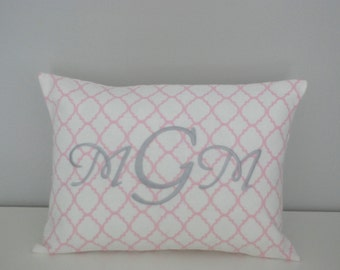 Quatrefoil Pink Personalized Pillow