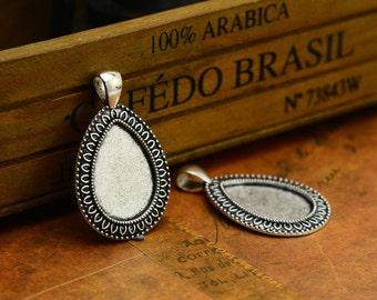 10pcs--18x25m Handmade Antique Silver Teardrop Base Pendants , Cabochon Base Settings  LM025-52150