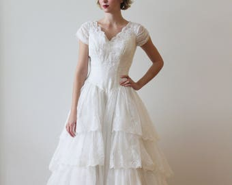 Vintage 1950s Short Sleeved Wedding Gown with Tiered Ruffled Skirt