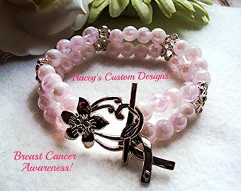 Double BREAST CANCER AWARENESS Lampwork/Crystal Bracelet - Custom Made Designs