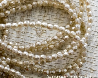 3mm Light Champagne Opal Ivory Mercury Glass Fire Polished Faceted Round Bead - Czech Glass Champagne Opal Ivory Beads - 50 beads - 4752