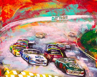 Giclee NASCAR PRINT on CANVAS of the Original Painting, Race Fan Painting Dale Earnhardt Jr. Wall Art Signed and Ready to Hang