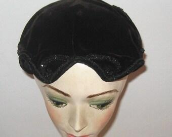 Black Velvet Hat . velvet topper . widow's peak hat . black velvet topper . beaded velvet hat . art deco topper