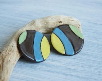 Black Ceramic Hoop earrings-geometrical lobe earrings-hoop earrings-gifts for her-ceramic jewelry