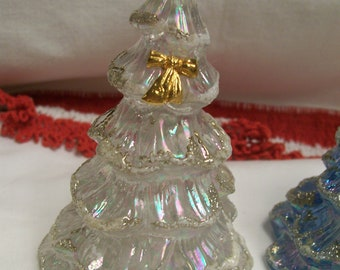 """Vintage Fenton Art Glass Christmas Tree  Miniature 3"""" Iridescent Frosted White With Golden Bow Vintage Holiday Decor"""