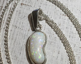 Beautiful Australian Opal Pendant. Sterling Silver. Argentium Silver Necklace.