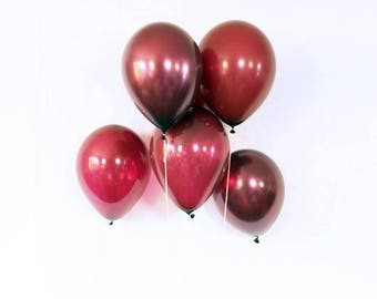"Burgundy latex balloons - 11"".  Set of 12.  Maroon and burgundy latex balloon set.  Maroon balloons.  Burgundy balloons. Dark red balloons."